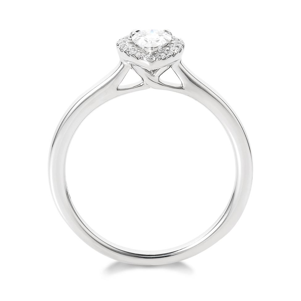 Platinum Pear Shape 0.40ct Diamond Halo Ring  Thumbnail Image 2