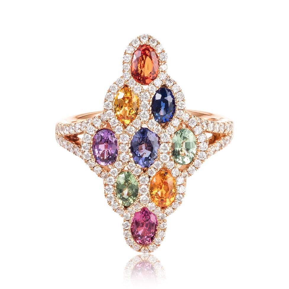 Samba 18ct Rose Gold Marquise Design Rainbow Sapphire and Diamond Dress Ring Thumbnail Image 2