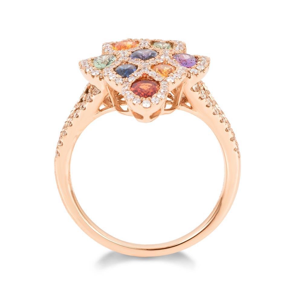 Samba 18ct Rose Gold Marquise Design Rainbow Sapphire and Diamond Dress Ring Thumbnail Image 3