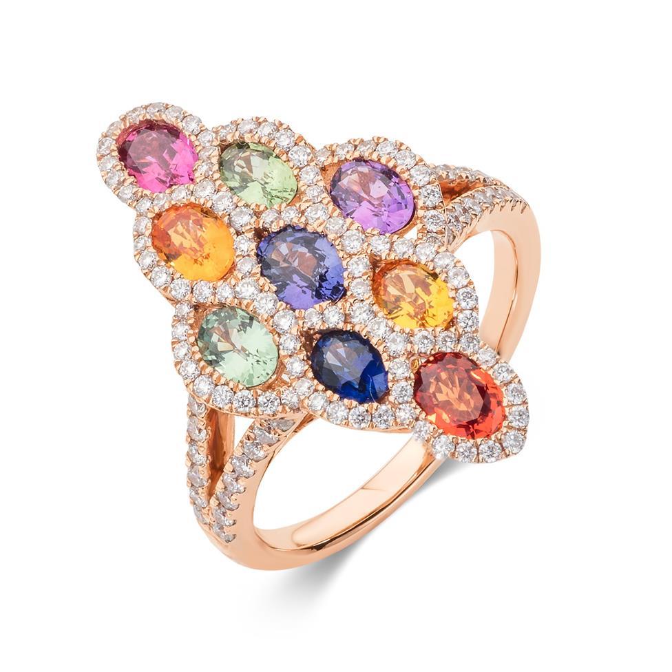 Samba 18ct Rose Gold Marquise Design Rainbow Sapphire and Diamond Dress Ring Thumbnail Image 0