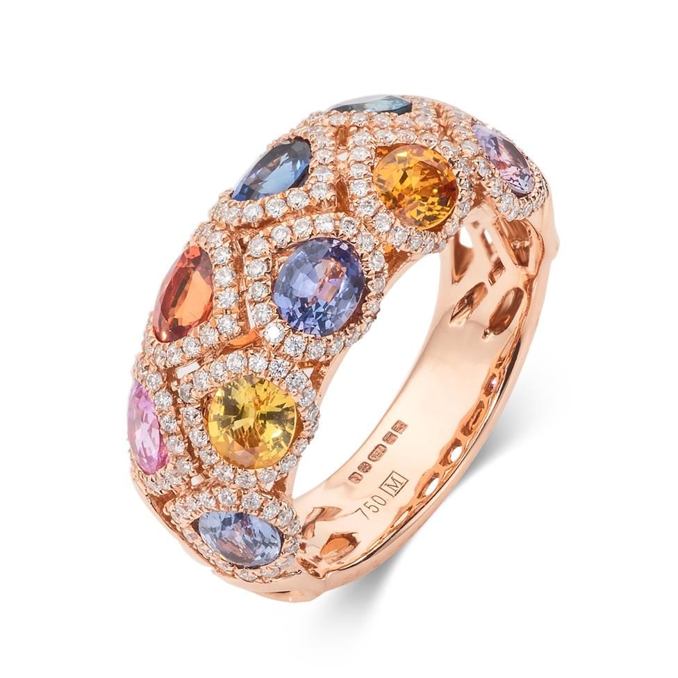 Samba 18ct Rose Gold Dome Design Rainbow Sapphire and Diamond Dress Ring Thumbnail Image 0