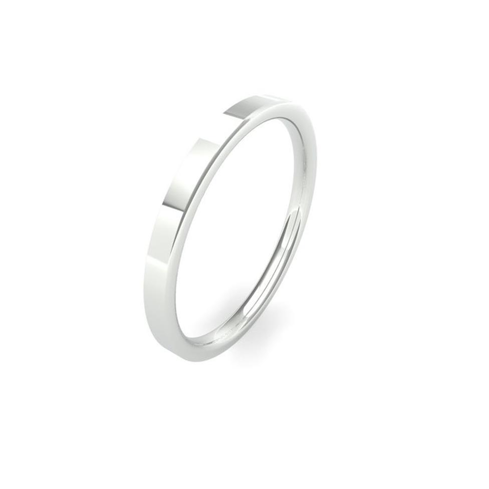 Platinum Intermediate Gauge Flat Court Wedding Ring Thumbnail Image 0