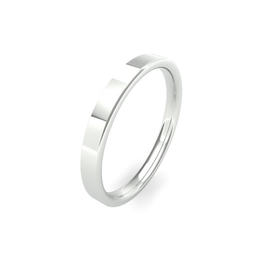 Platinum Intermediate Gauge Flat Court Wedding Ring Thumbnail Image 1