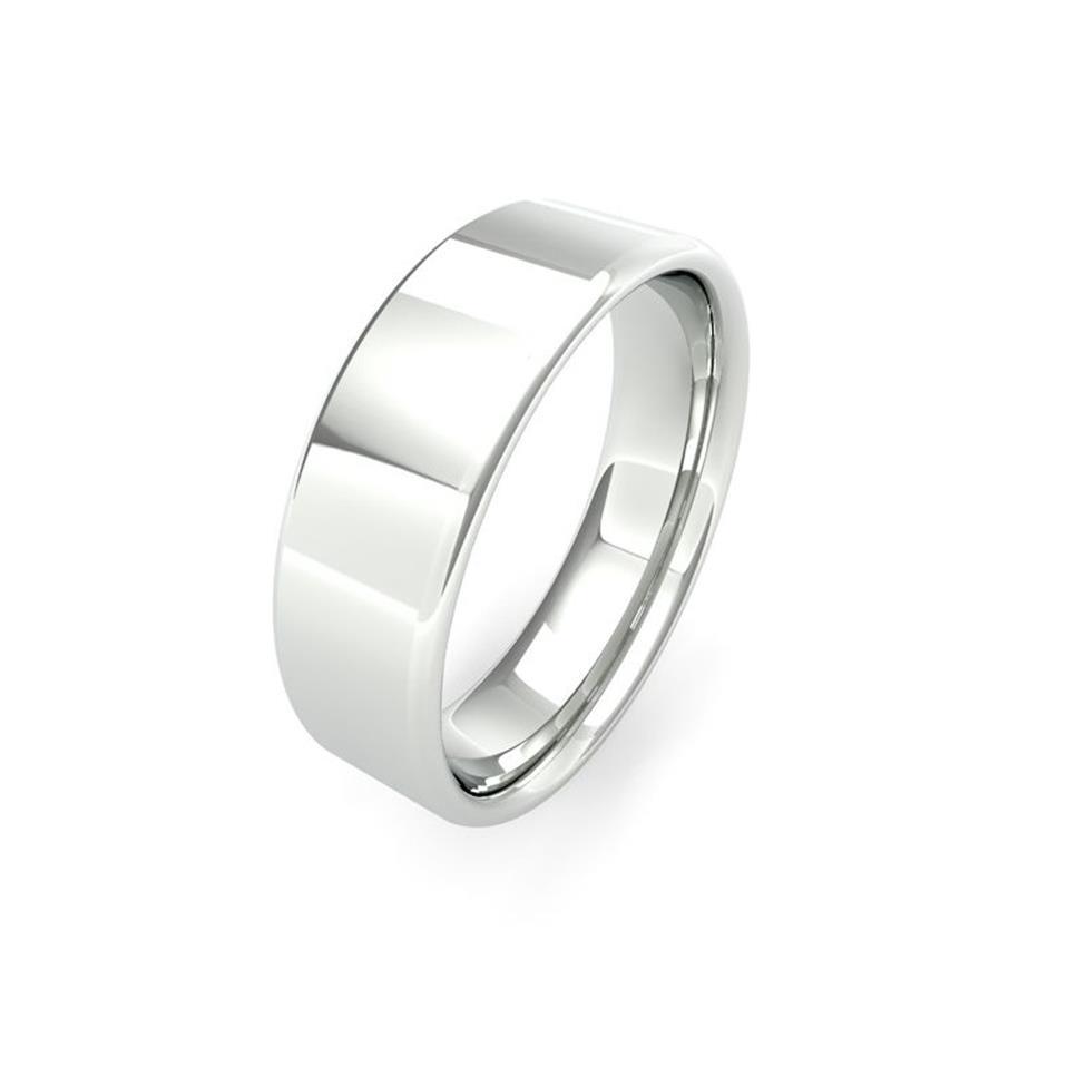 Platinum Intermediate Gauge Flat Court Wedding Ring Thumbnail Image 6
