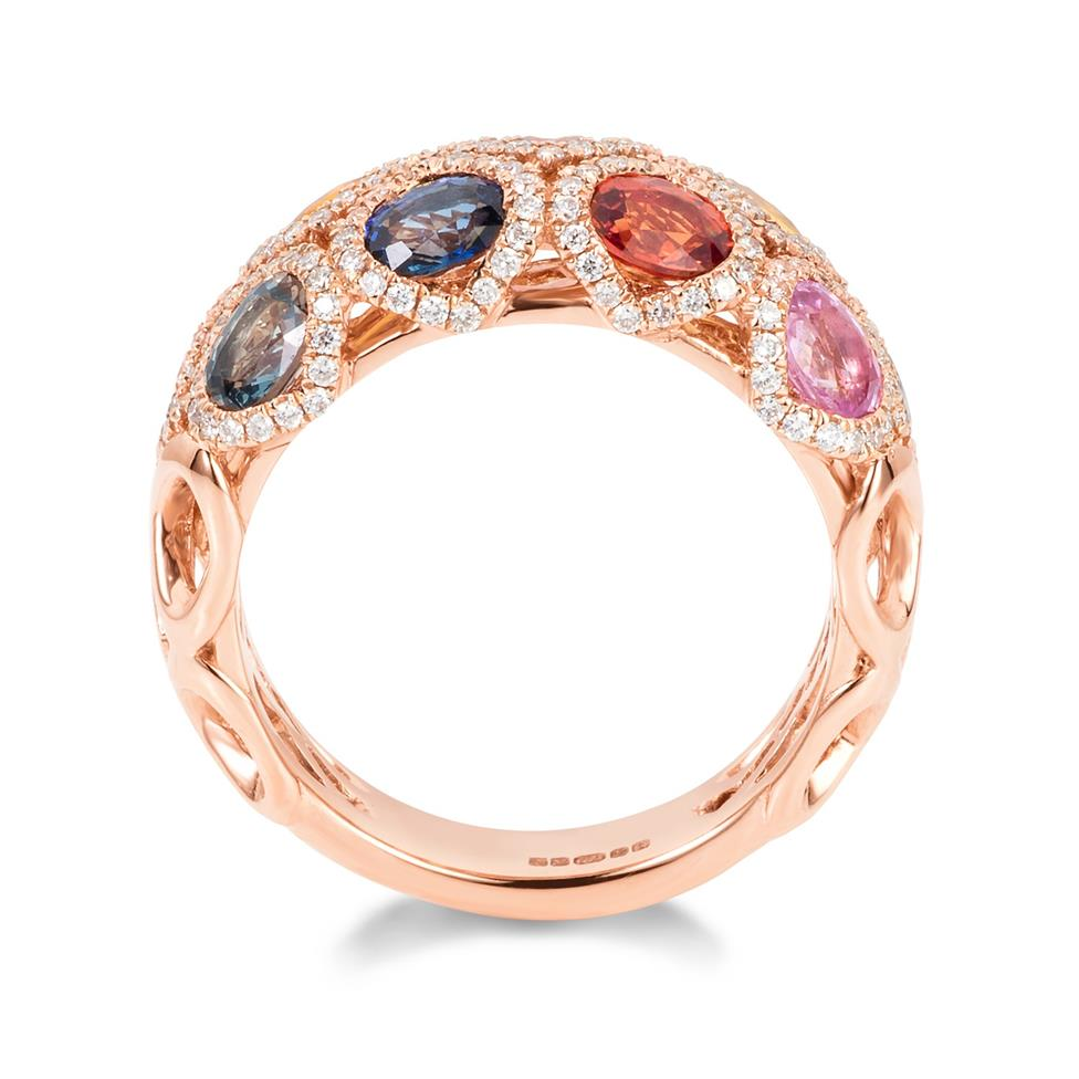 Samba 18ct Rose Gold Dome Design Rainbow Sapphire and Diamond Dress Ring Thumbnail Image 3
