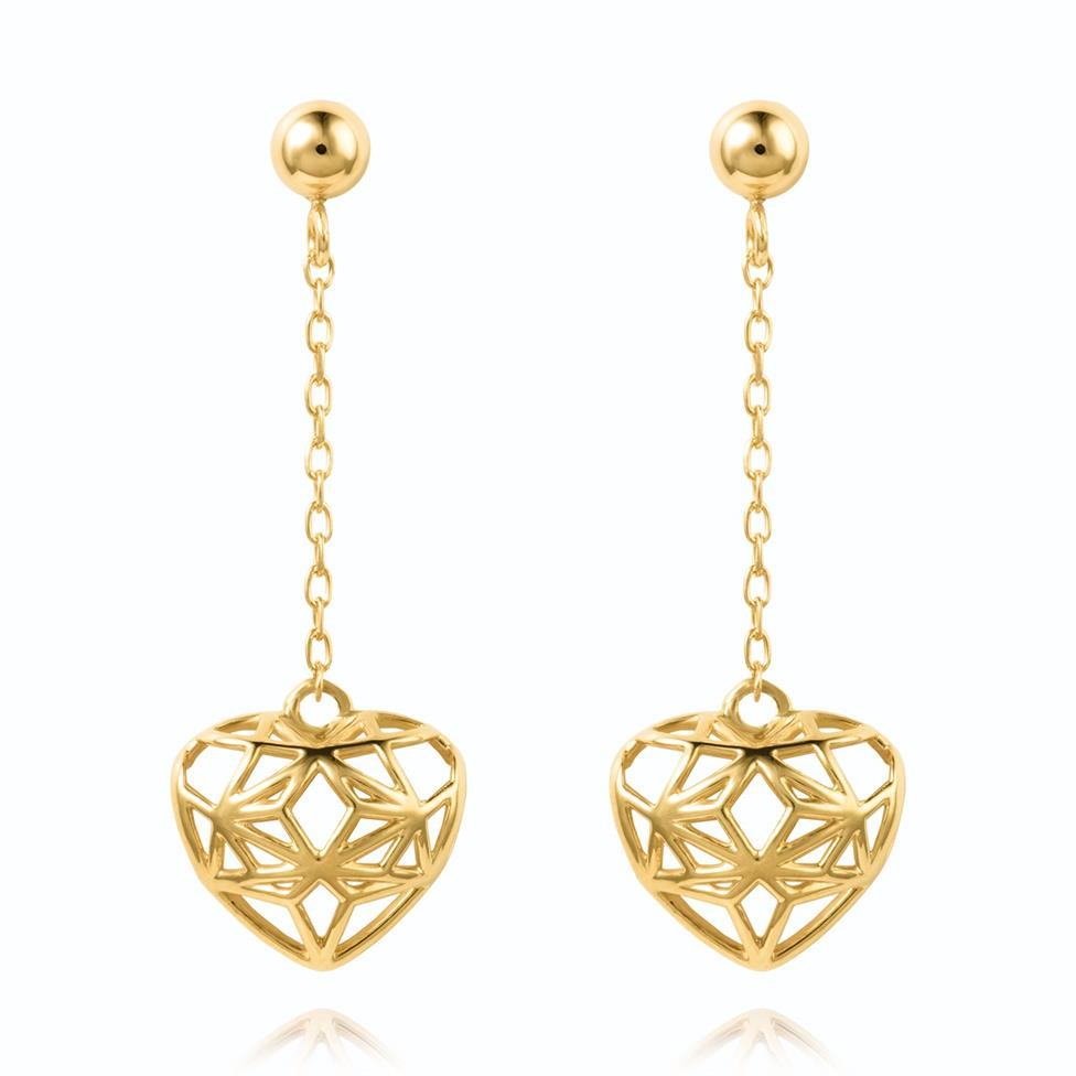 18ct Yellow Gold Heart Design Drop Earrings Thumbnail Image 0