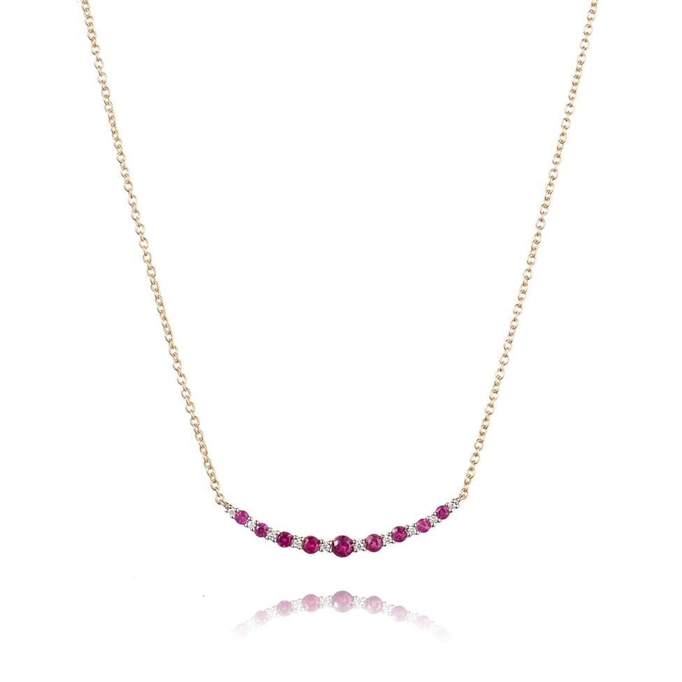 18ct Yellow Gold Ruby and Diamond Curved Necklace Image 1