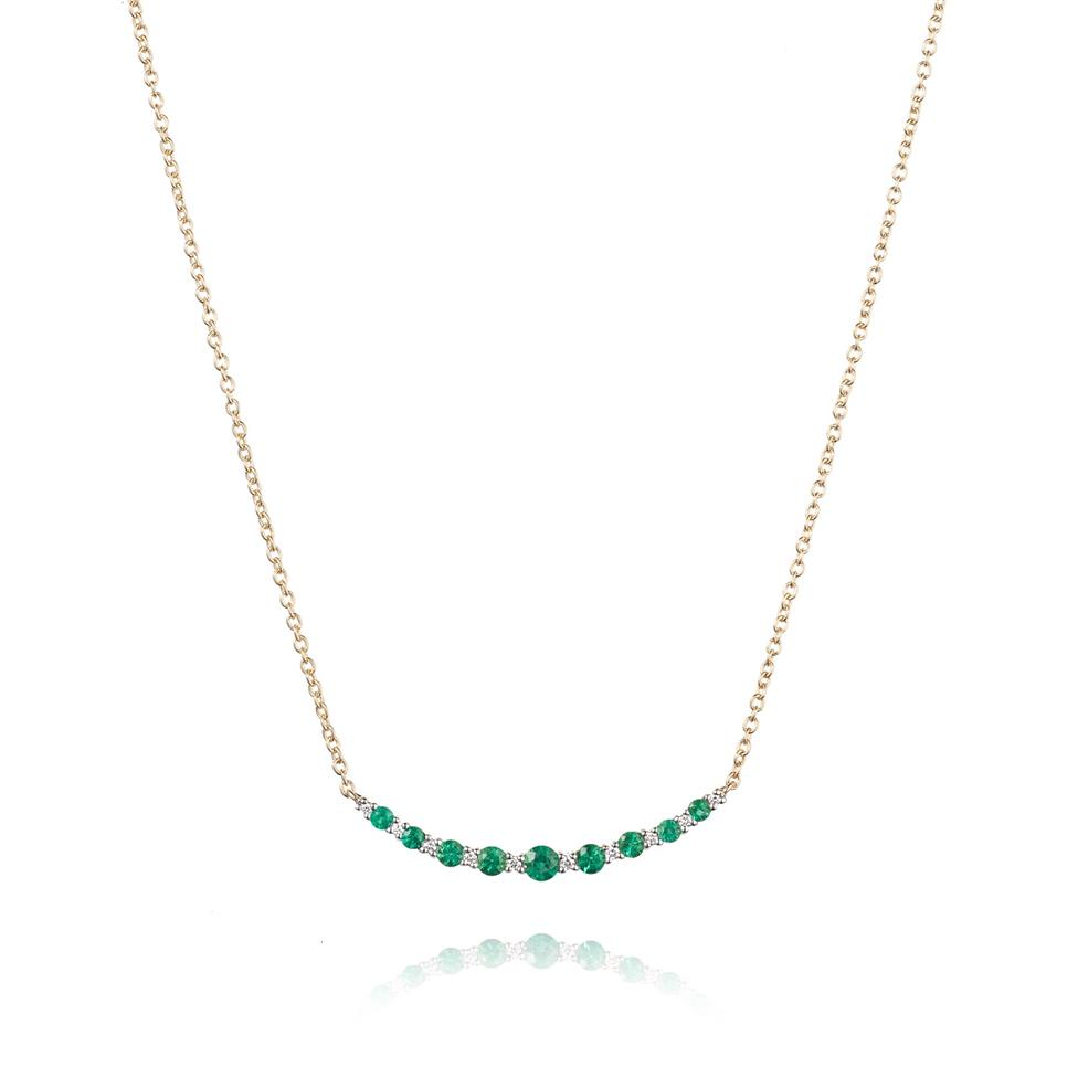 18ct Yellow Gold Emerald and Diamond Necklace Thumbnail Image 0