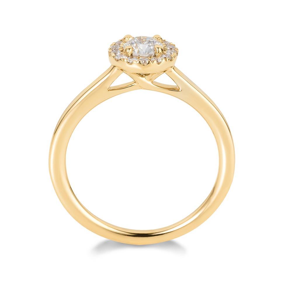 18ct Yellow Gold Diamond Round Halo Engagement Ring 0.48ct Thumbnail Image 3