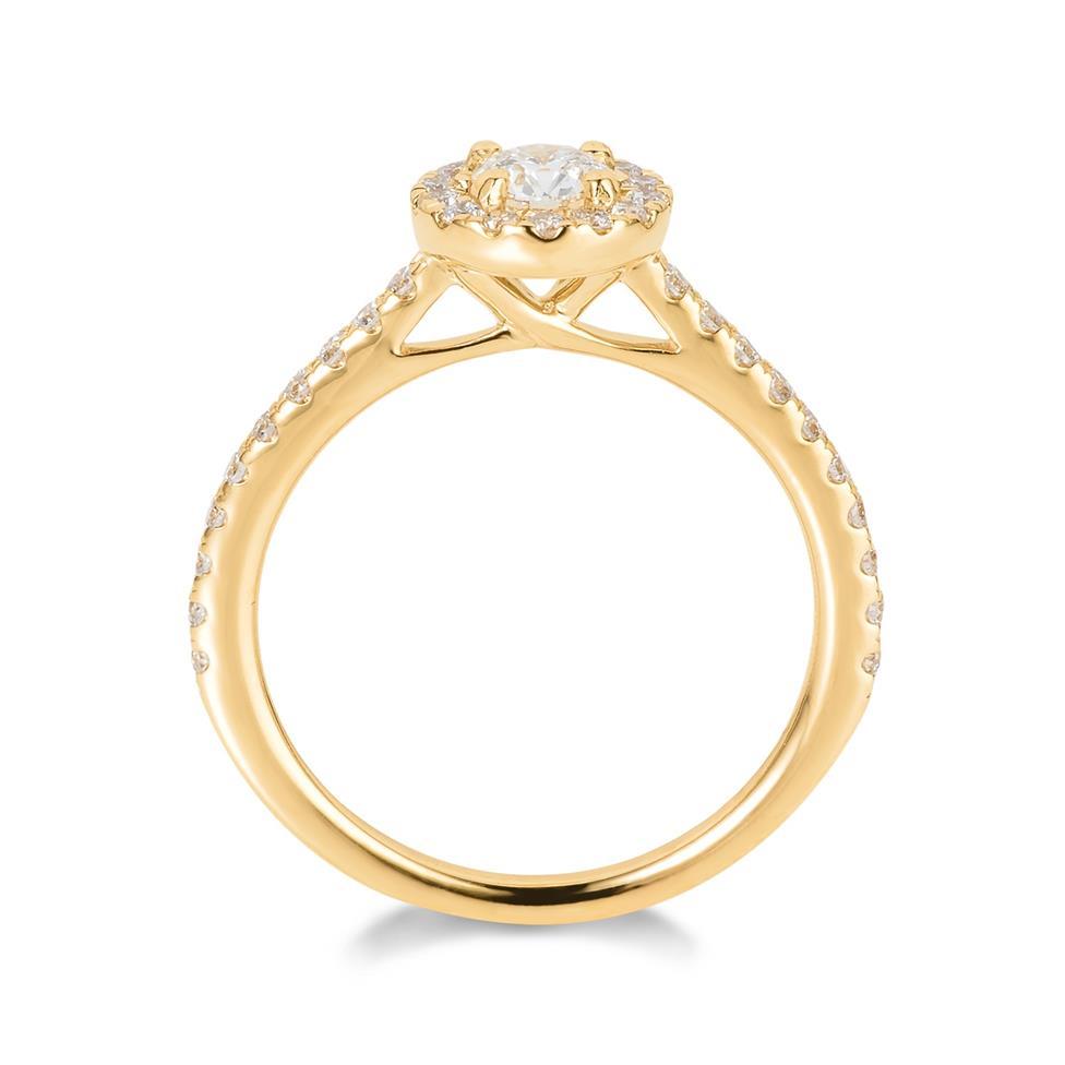 18ct Yellow Gold Diamond Round Halo Engagement Ring 0.65ct Thumbnail Image 2