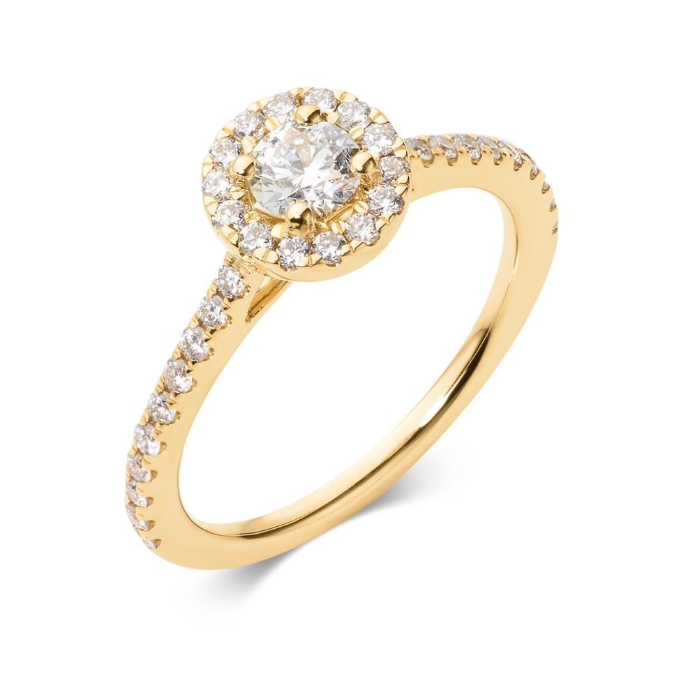 18ct Yellow Gold Diamond Round Halo Engagement Ring 0.65ct Thumbnail Image 0