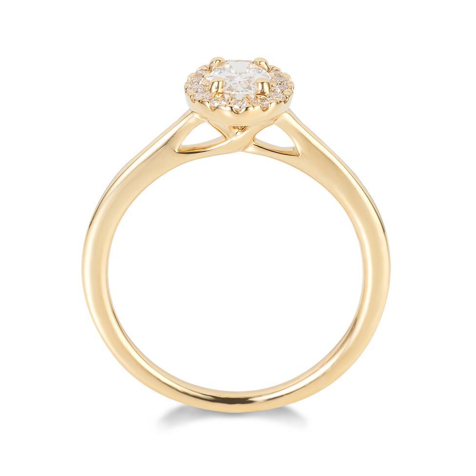 18ct Yellow Gold Oval Diamond Halo Engagement Ring 0.45ct Thumbnail Image 2