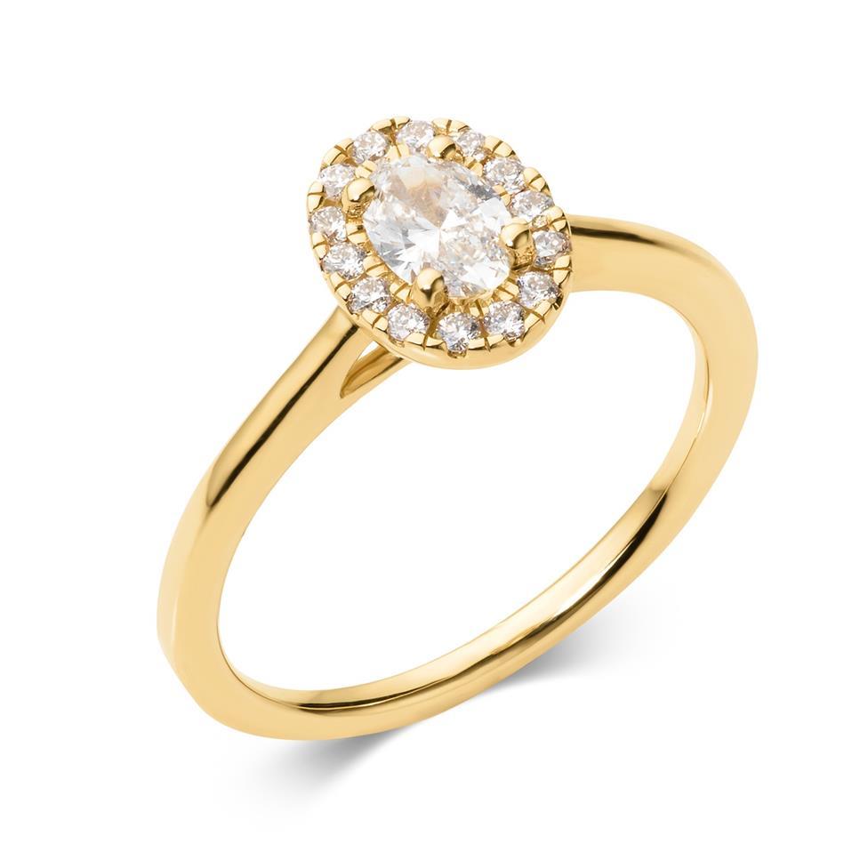 18ct Yellow Gold Oval Diamond Halo Engagement Ring 0.45ct Thumbnail Image 0