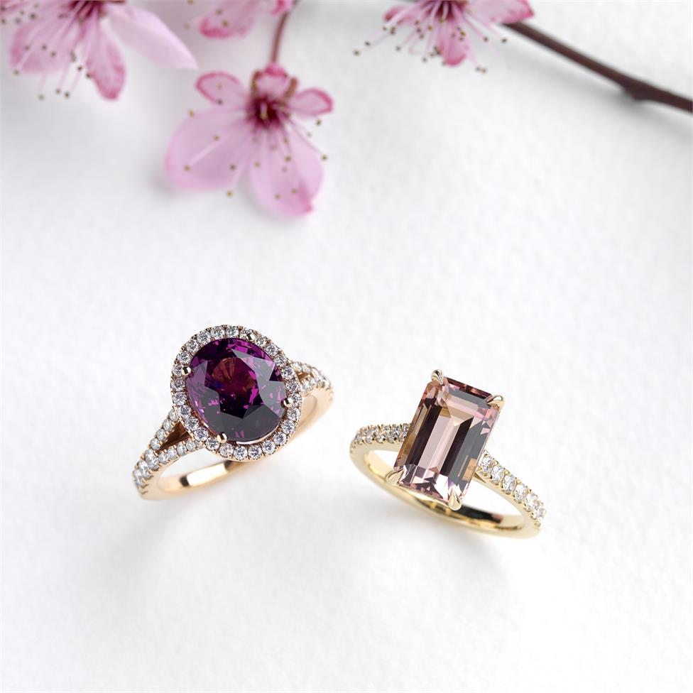 18ct Rose Gold Oval Rhodolite and Diamond Halo Dress Ring Thumbnail Image 2