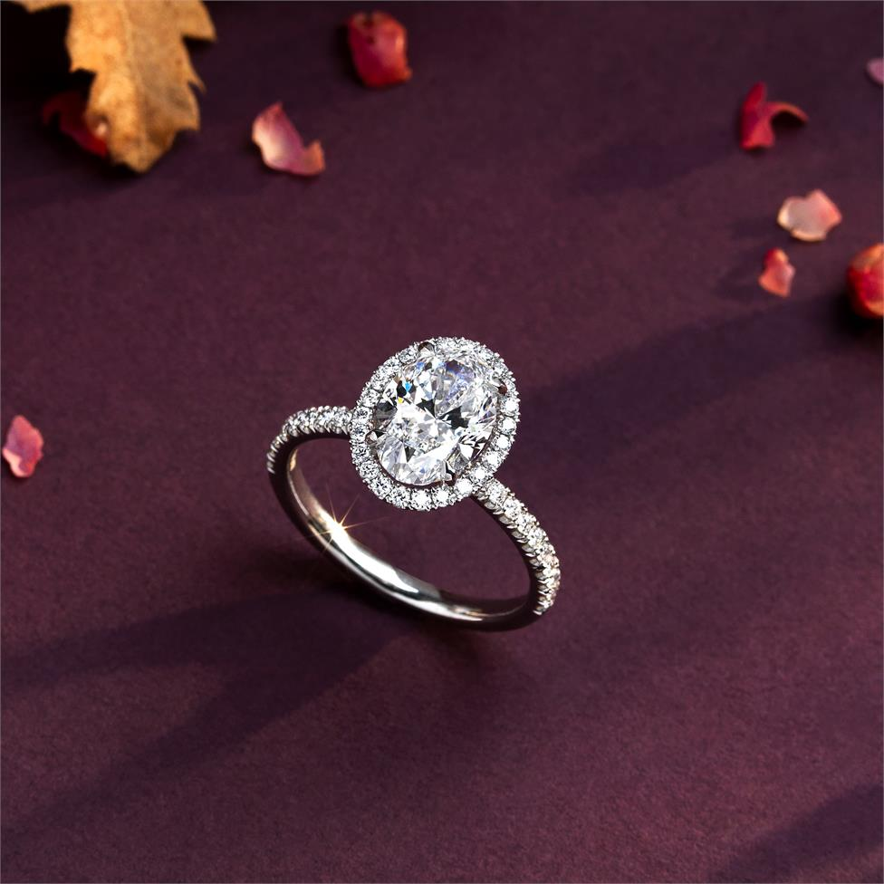 Platinum Oval Diamond Halo Engagement Ring 2.52ct Thumbnail Image 1