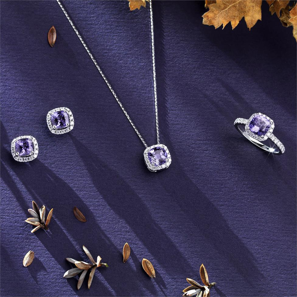 18ct White Gold Cushion Cut Tanzanite and Diamond Dress Ring Thumbnail Image 1