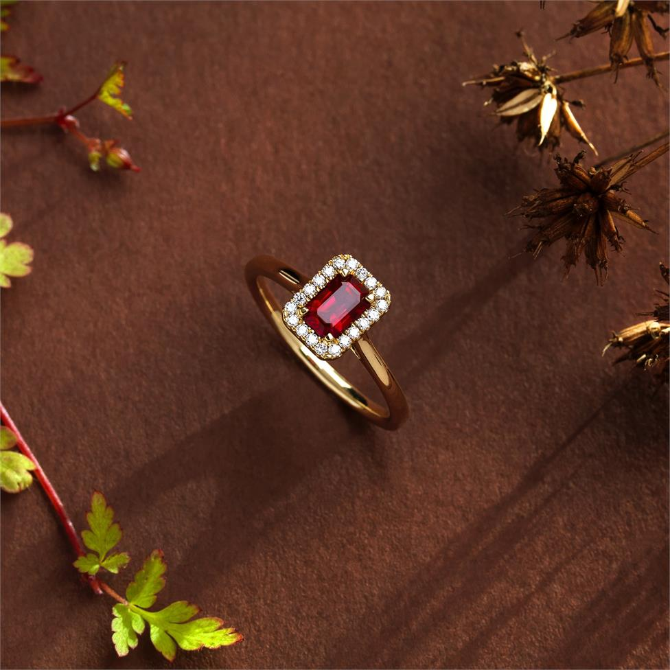 18ct Yellow Gold Emerald Cut Ruby and Diamond Halo Engagement Ring Thumbnail Image 1