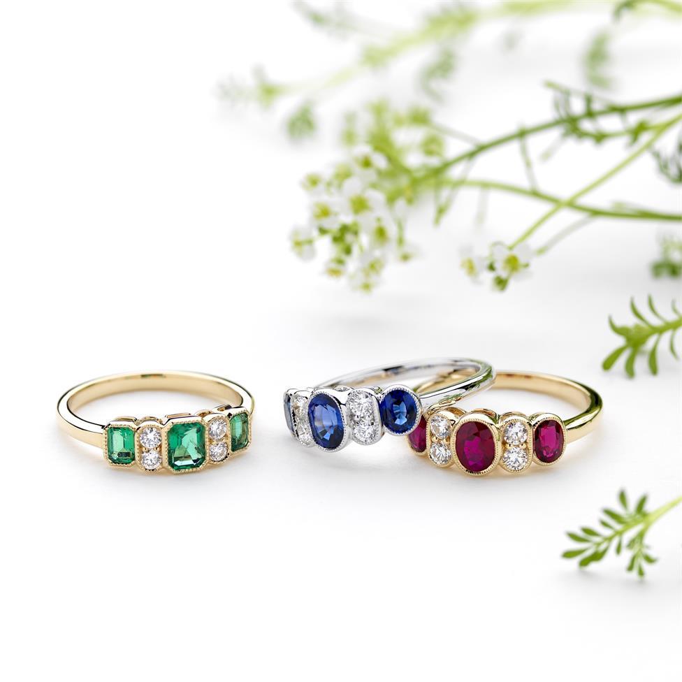 18ct Yellow Gold Milgrain Detail Emerald and Diamond Dress Ring Thumbnail Image 1