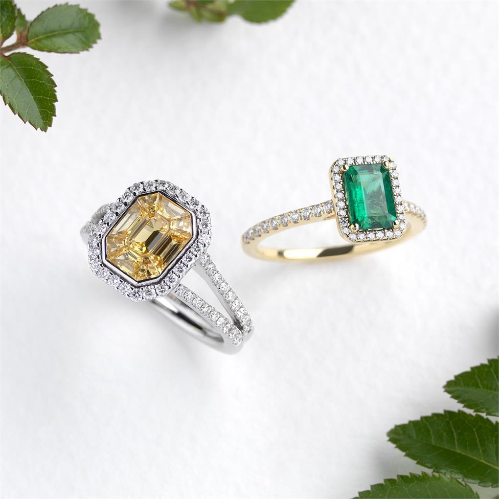 18ct Yellow Gold Emerald and Diamond Halo Engagement Ring Thumbnail Image 1