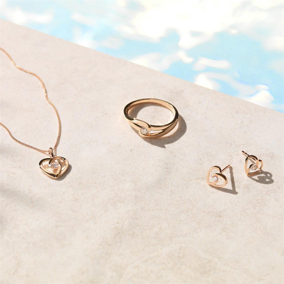 Mon Coeur 18ct Rose Gold Twist Design Diamond Dress Ring 0.08ct Thumbnail Image 1
