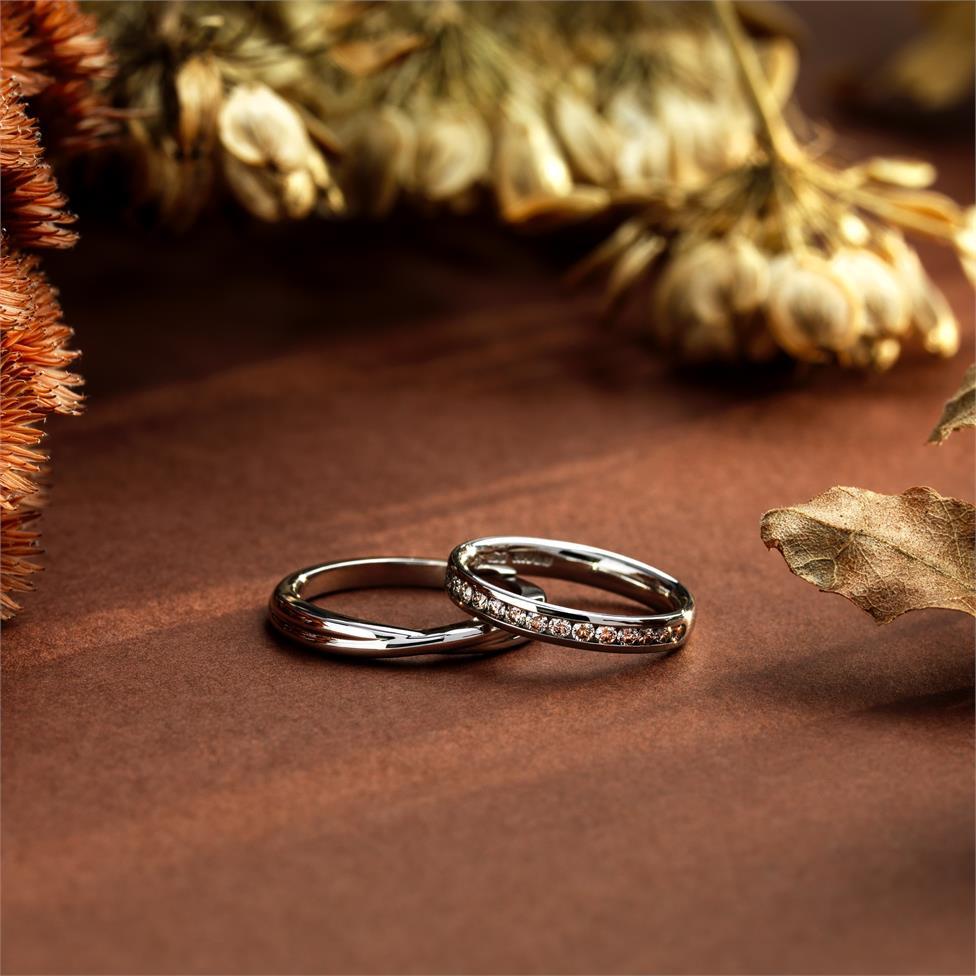 Platinum Twist Design Wedding Ring Thumbnail Image 1