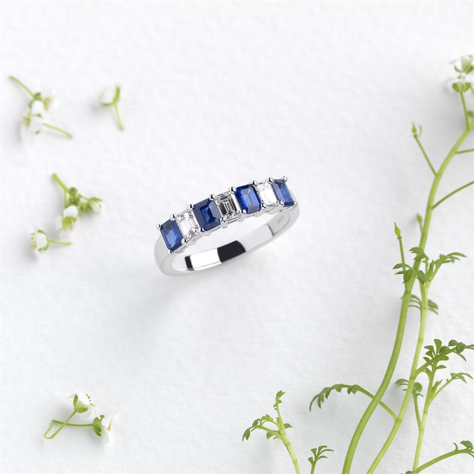 Platinum Emerald Cut Sapphire and Diamond Half Eternity Ring Thumbnail Image 1