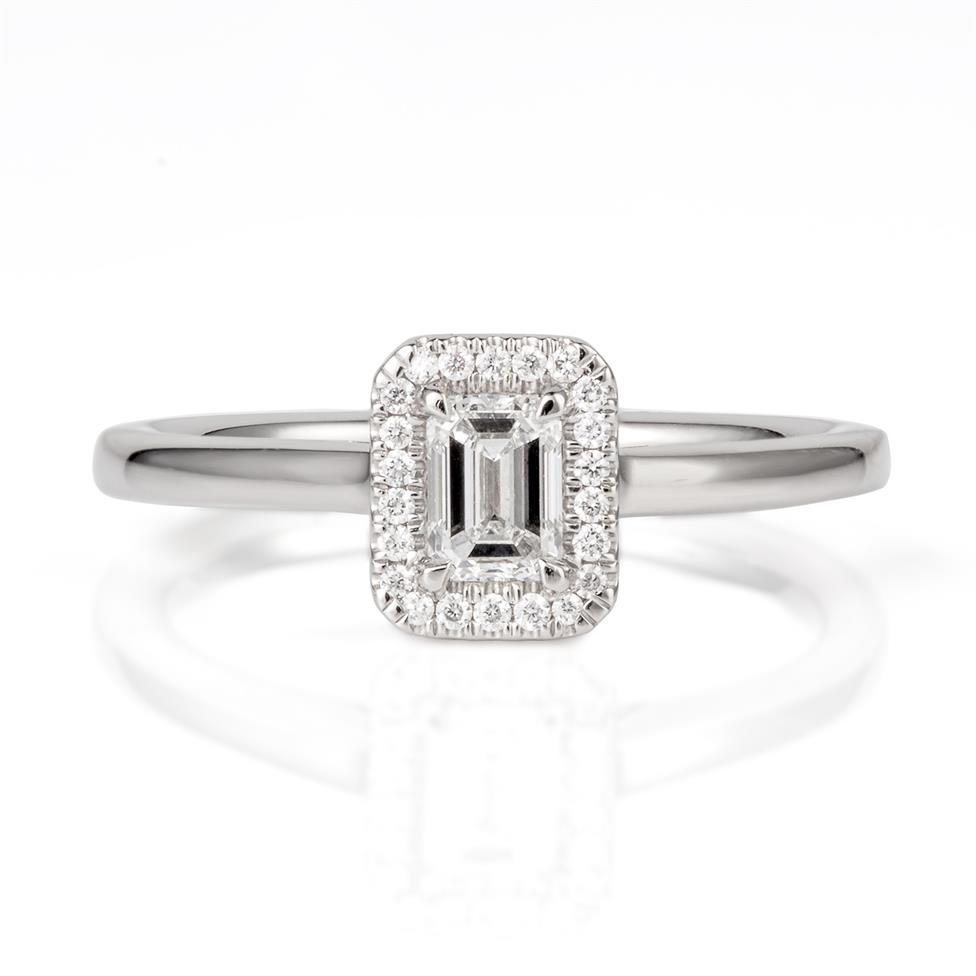 Platinum Emerald Cut Diamond Halo Engagement Ring 0.40ct Thumbnail Image 1