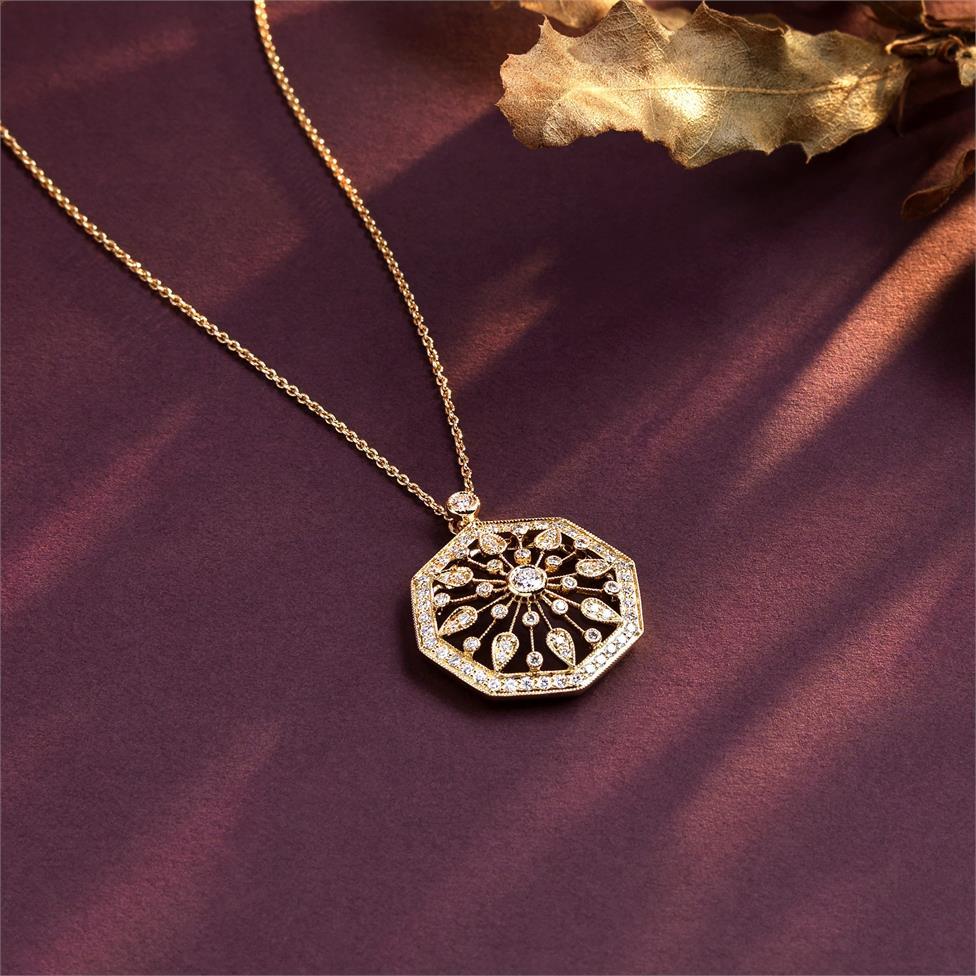 18ct Yellow Gold Disc Design Diamond Necklace 0.80ct Thumbnail Image 1