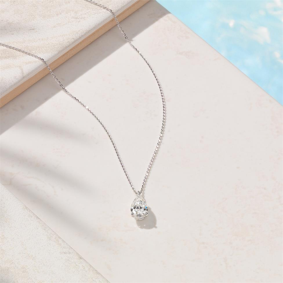 18ct White Gold Pear Shape Diamond Solitaire Necklace 1.03ct Thumbnail Image 1