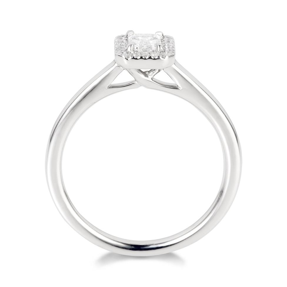 Platinum Emerald Cut Diamond Halo Engagement Ring 0.40ct Thumbnail Image 2