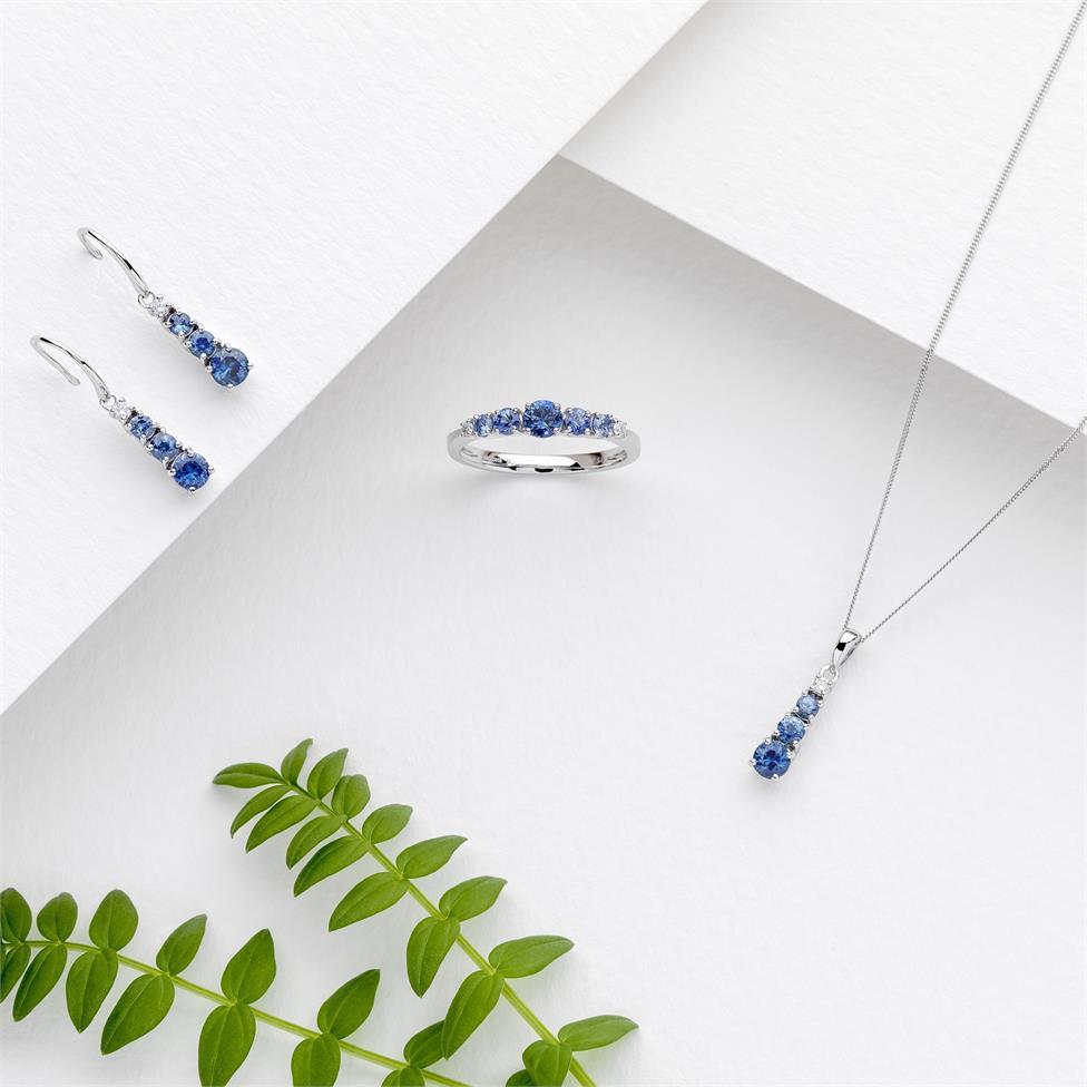 Bonbon 18ct White Gold Sapphire and Diamond Drop Earrings Thumbnail Image 1