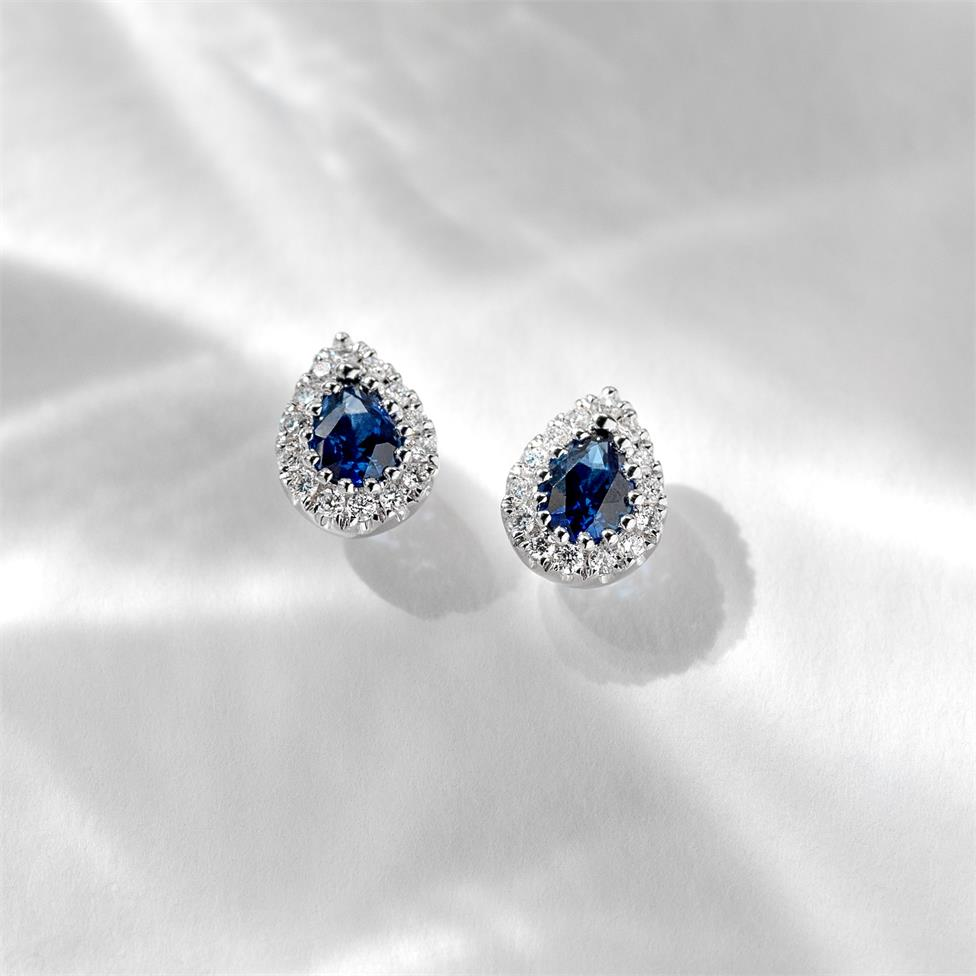 18ct White Gold Pear Shape Sapphire and Diamond Cluster Stud Earrings Thumbnail Image 1