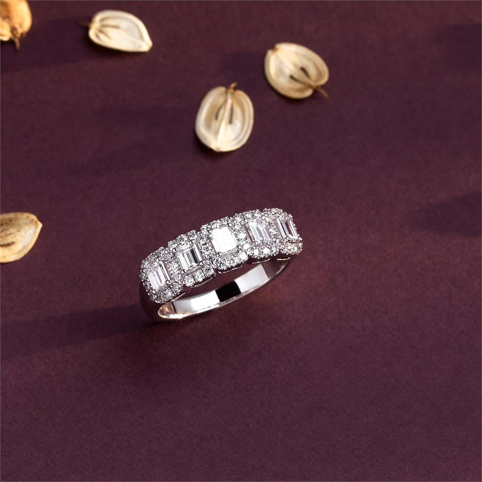 Odyssey 18ct White Gold Emerald Cut and Round Diamond Dress Ring 1.40ct Thumbnail Image 3