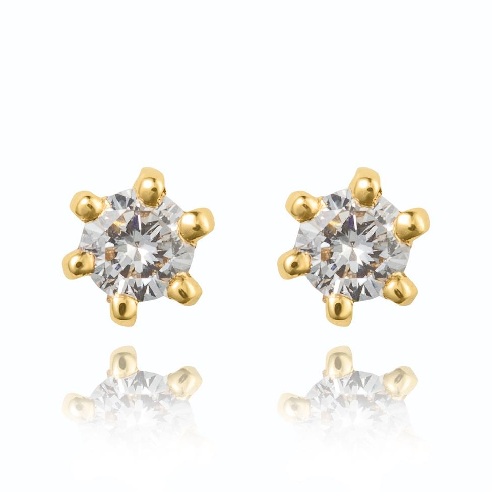 18ct Yellow Gold Classic 0.10ct Diamond Stud Earrings Image 1