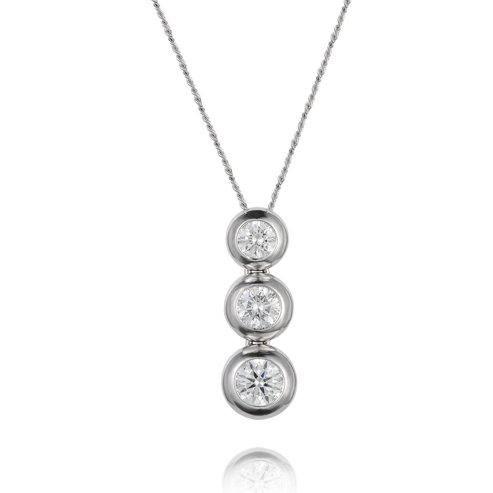 18ct White Gold Diamond Drop Necklace 0.45ct Thumbnail Image 0