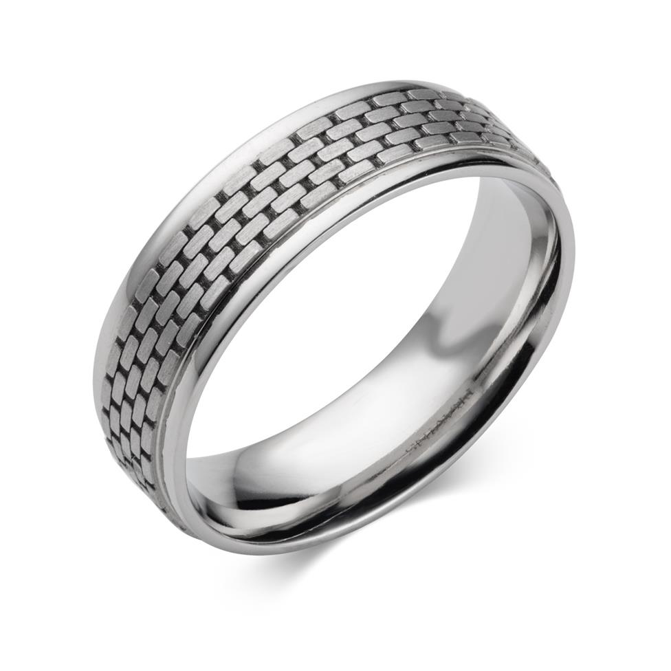 Palladium Lattice Detail Wedding Ring Thumbnail Image 0