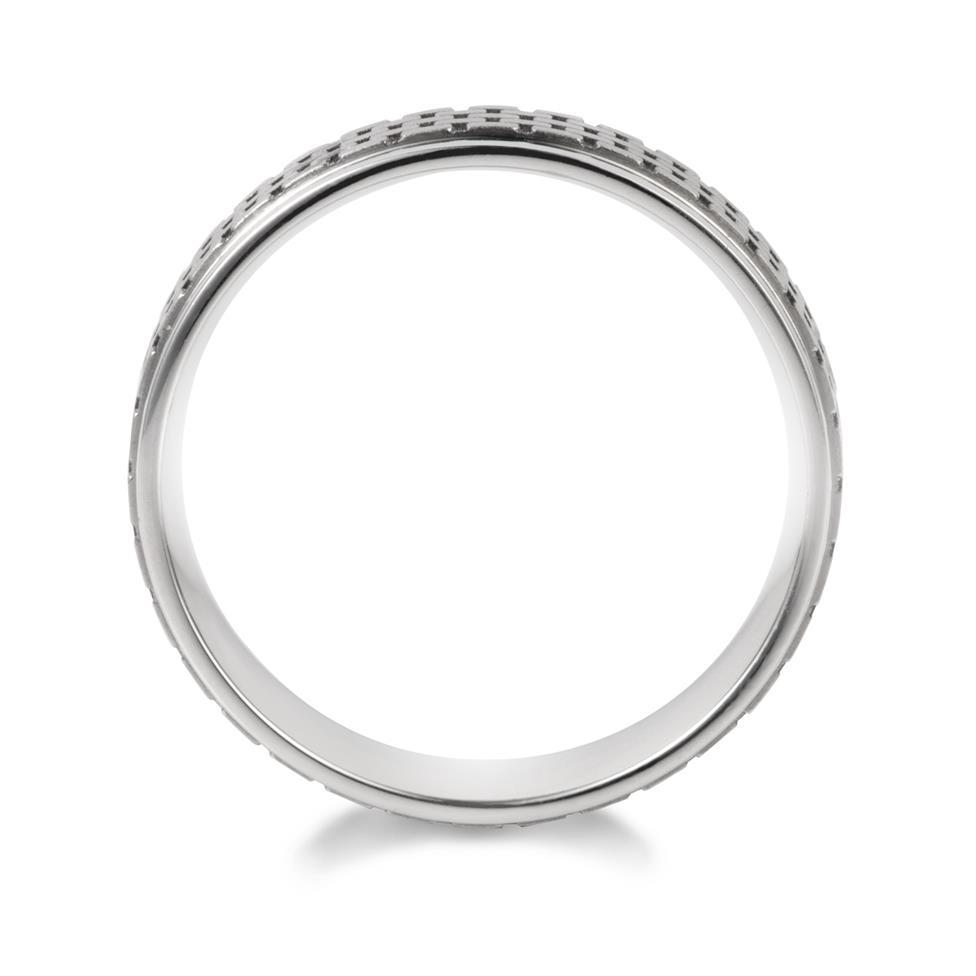 Palladium Lattice Detail Wedding Ring Thumbnail Image 1