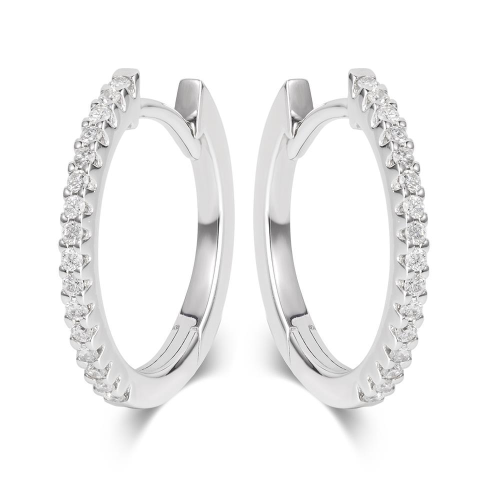 18ct White Gold Diamond Hoop Earrings 17mm  Thumbnail Image 0