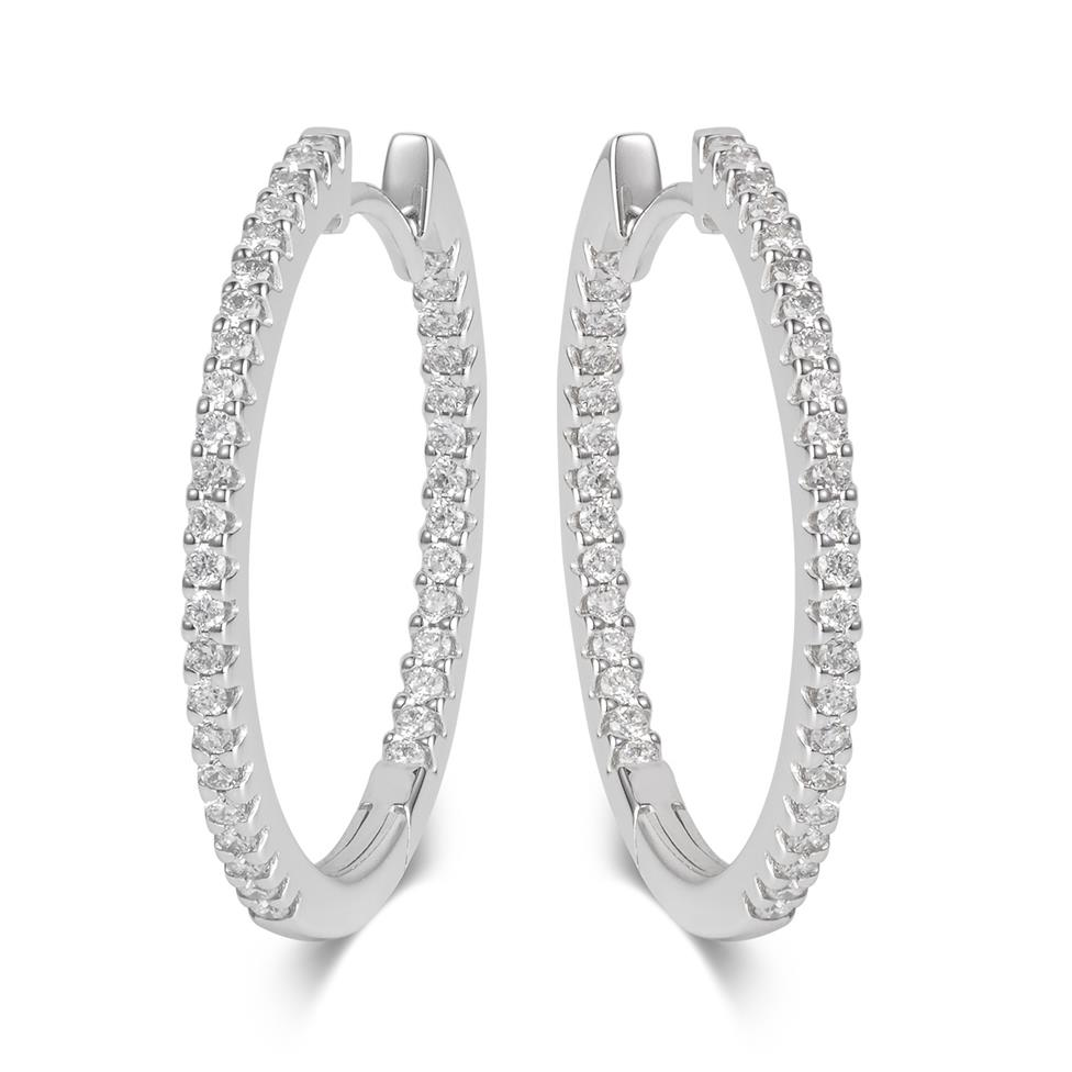 18ct White Gold Medium Diamond Hoop Earrings Image 1