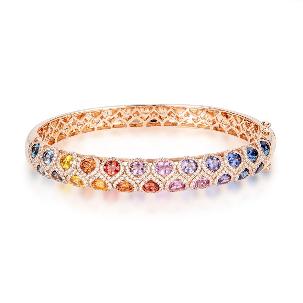 Samba 18ct Rose Gold Rainbow Sapphire and Diamond Bangle Thumbnail Image 0