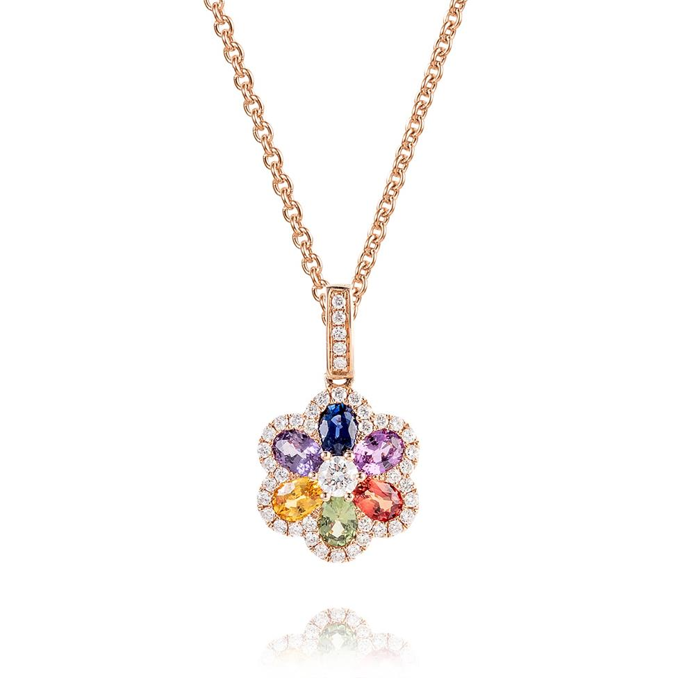 Samba 18ct Rose Gold Rainbow Sapphire and Diamond Pendant Thumbnail Image 0