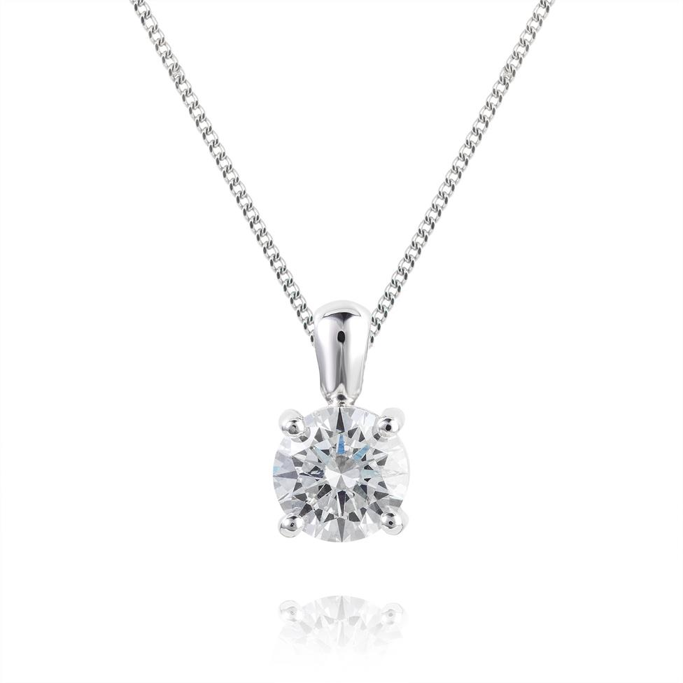 18ct White Gold Classic Design Diamond Solitaire Pendant 1.00ct Thumbnail Image 0