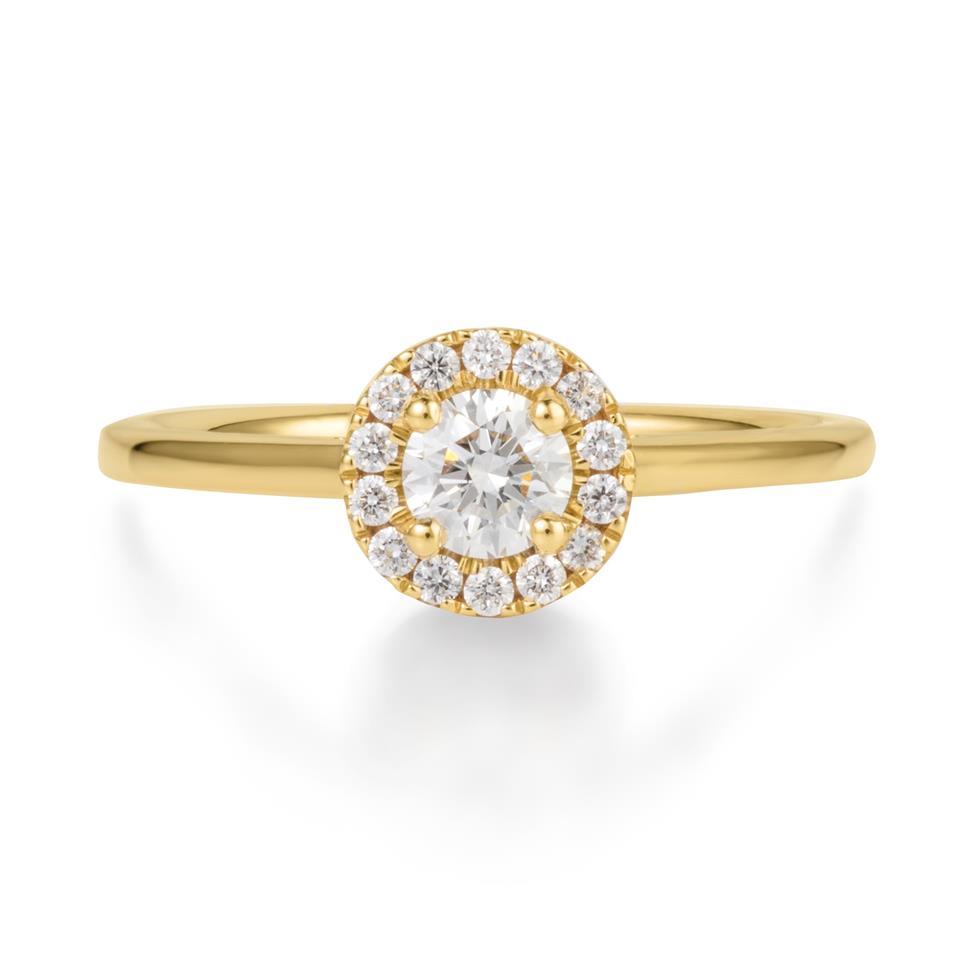18ct Yellow Gold Diamond Round Halo Engagement Ring 0.48ct Thumbnail Image 2