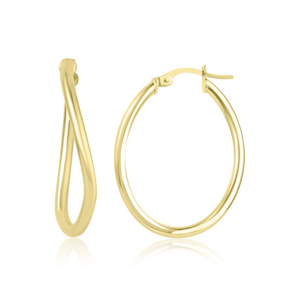 18ct Yellow Gold Asymmetric Hoop Earrings 30mm Thumbnail Image 0