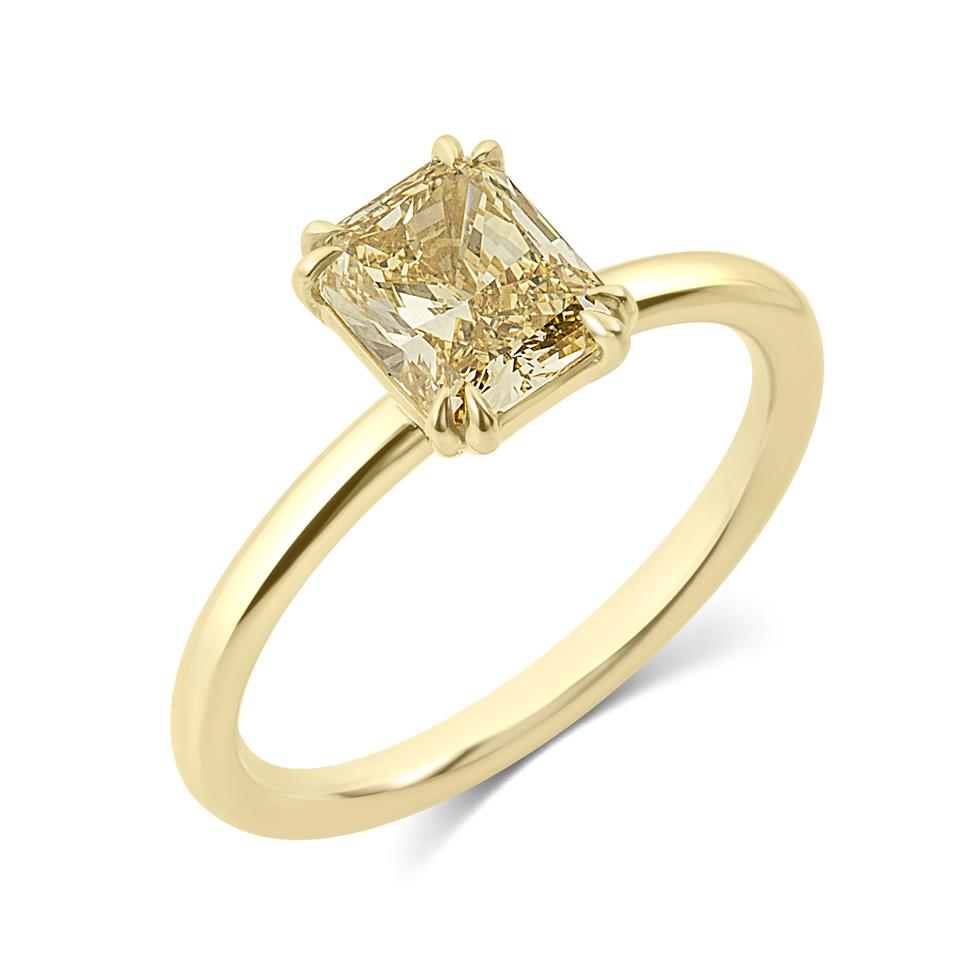 18ct Yellow Gold Radiant Cut Natural Champagne Diamond Solitaire Engagement Ring 1.51ct Thumbnail Image 0