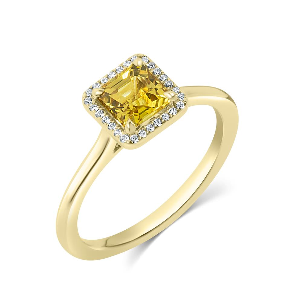 18ct Yellow Gold Asscher Cut Yellow Sapphire and Diamond Halo Engagement Ring Thumbnail Image 0