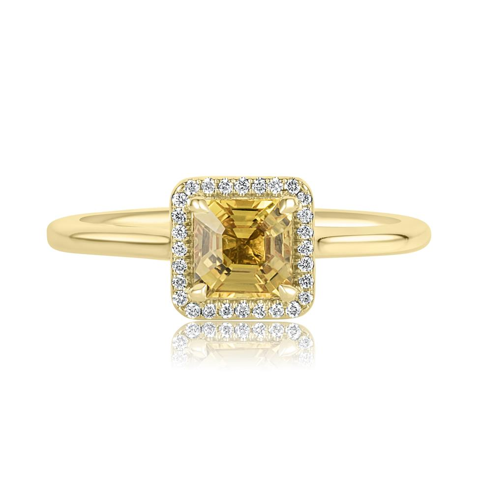 18ct Yellow Gold Asscher Cut Yellow Sapphire and Diamond Halo Engagement Ring Thumbnail Image 1