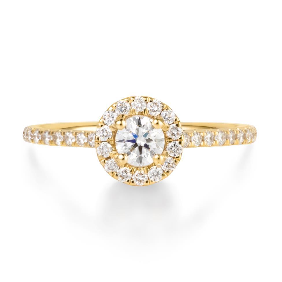 18ct Yellow Gold Diamond Round Halo Engagement Ring 0.65ct Thumbnail Image 1