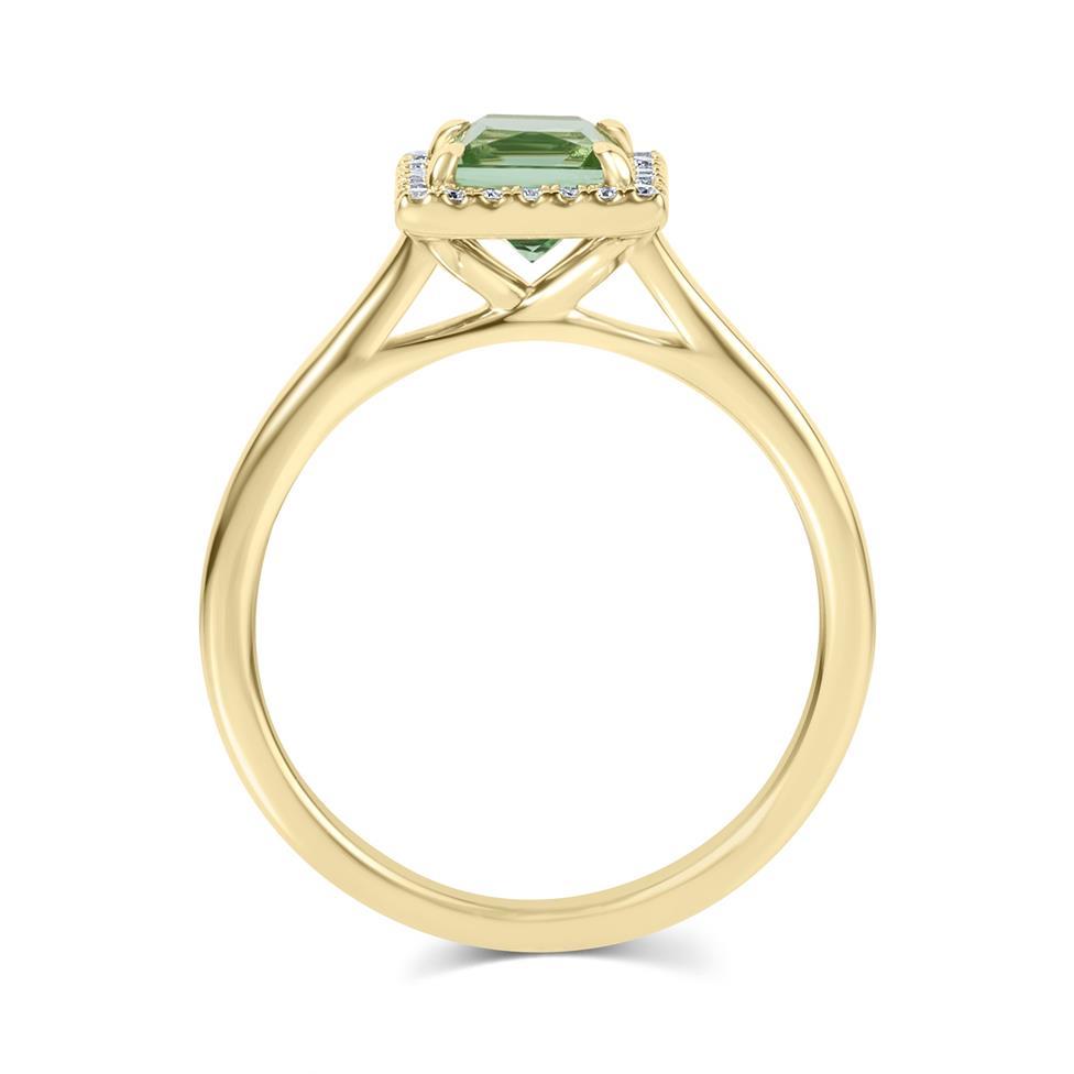 18ct Yellow Gold Princess Cut Mint Green Tourmaline and Diamond Halo Dress Ring Thumbnail Image 2