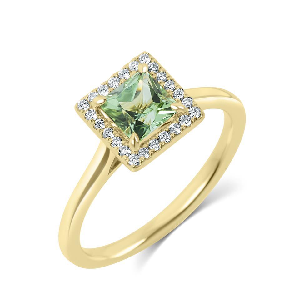 18ct Yellow Gold Princess Cut Mint Green Tourmaline and Diamond Halo Dress Ring Thumbnail Image 0